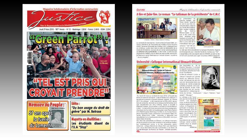 """""""JUSTICE"""" n° 13 : l'Affaire """"Green Parrot"""" ; mobilisations contre les mesures antisociales de Macron ; la tuerie du Lamentin de 1961 ; manifestation pour le zéro chlordécone..."""
