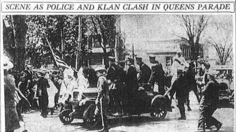 In 1927, Donald Trump's father was arrested after a Klan riot in Queens