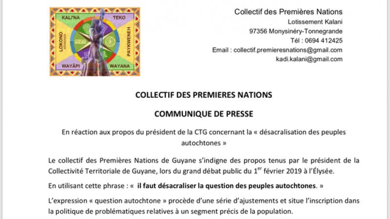 Le communiqué du Collectif des Premières Nations v.s Rodolphe Alexandre