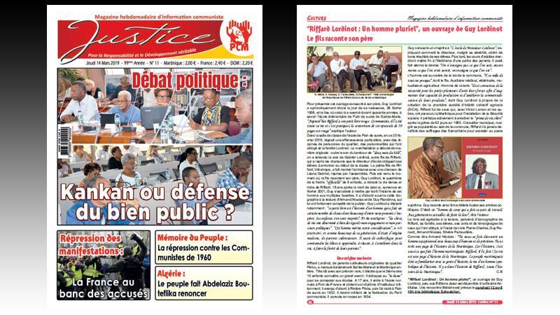 """Hebdomadaire """"JUSTICE"""" n° 11 : kankans ou défense du bien public ; Vaval s'est fait rhabiller ; réunion de la liste des candidats du PCF ; répression des manifestations en France..."""
