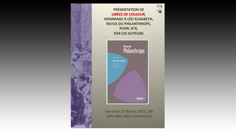 """Présentation en Sorbonne du livre """"Libres de couleur"""" en hommage à Léo Elisabeth"""
