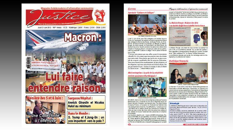 """""""JUSTICE"""" n° 25 : faire entendre raison à E. Macron ; plénière de juin à la CTM ; le problème des sargasses ; le sort des migrants en Europe..."""