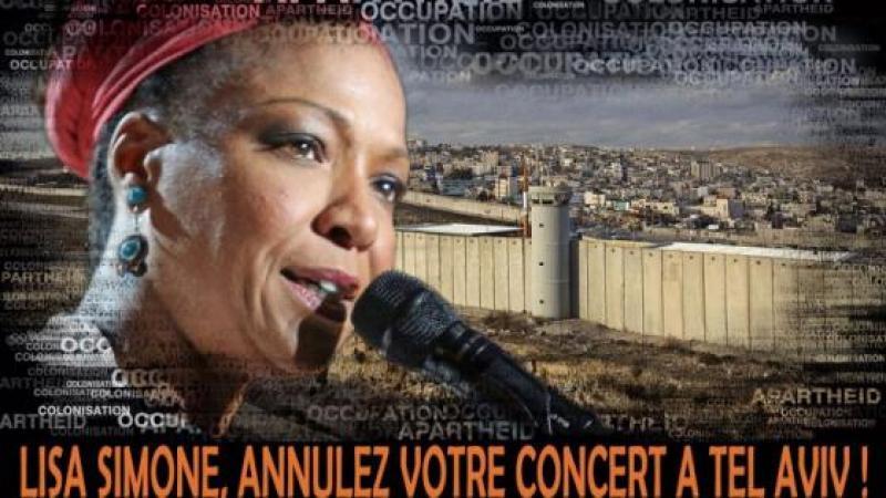 Lettre de BDS France à Lisa Simone: Annulez votre concert à Tel Aviv!