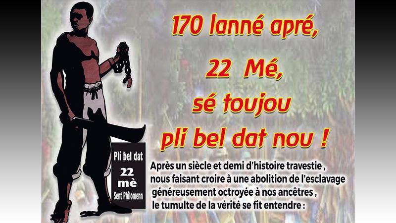 GRAN SANBLÉ POU 170 LANNÉ 22 MÉ : RV 7H30 SEN PIÈ