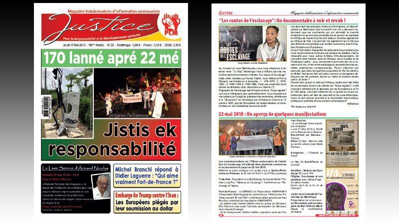 """Journal """"JUSTICE"""" n° 20 : 170 lanné apré 22 mé ; Michel Branchi répond à Didier Laguerre ; Le Livre-Service d'Armand Nicolas ; embargo de Trump contre l'Iran etc."""