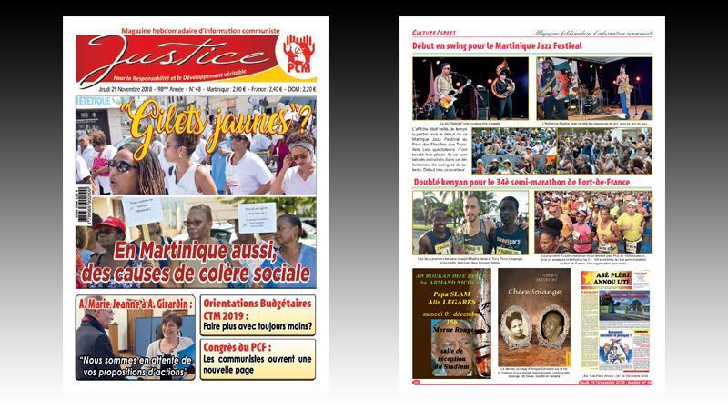 """Journal """"JUSTICE"""" n° 48 : colère sociale en Martinique ; SAEM du Galion ; conflit à la CFTU ; XXIIIe Congrès des RUP ; passage de témoin au Lamentin..."""
