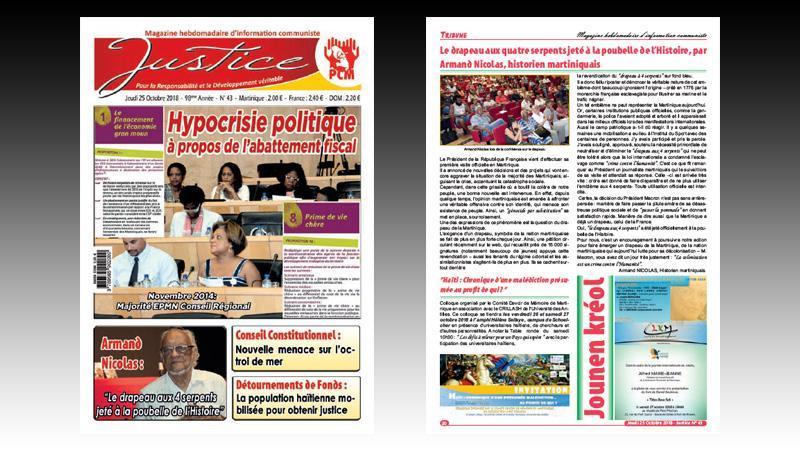 """Hebdomadaire """"JUSTICE"""" n° 43 : non au drapeaux aux quatre serpents ; les retraités ne sont pas des nantis ; colloque sur le chlordécone ; la Martinique impactée par l'austérité budgétaire..."""
