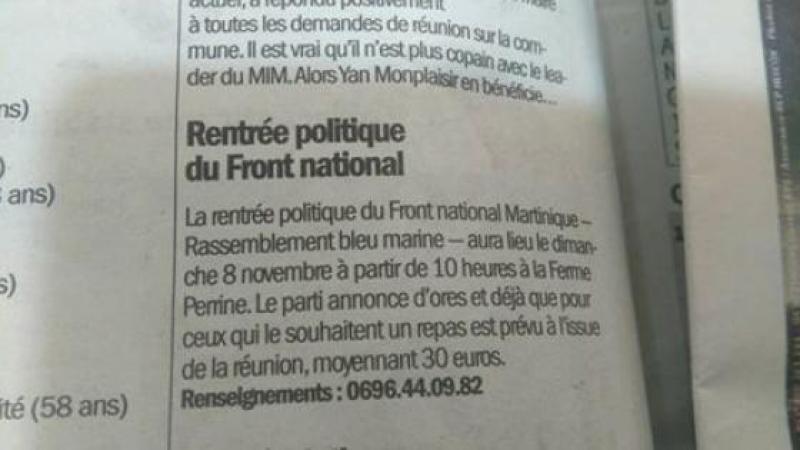 FRONT NATIONAL EN MARTINIQUE : NE PAS LAISER S'INSTALLER L'IGNOMINIE !