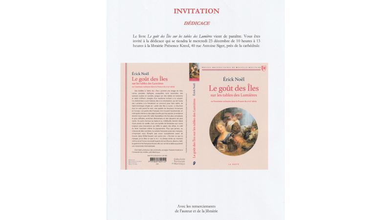 """Librairie """"Présence Kreol"""" : Erick Noël dédicace """"Le goût des îles"""""""