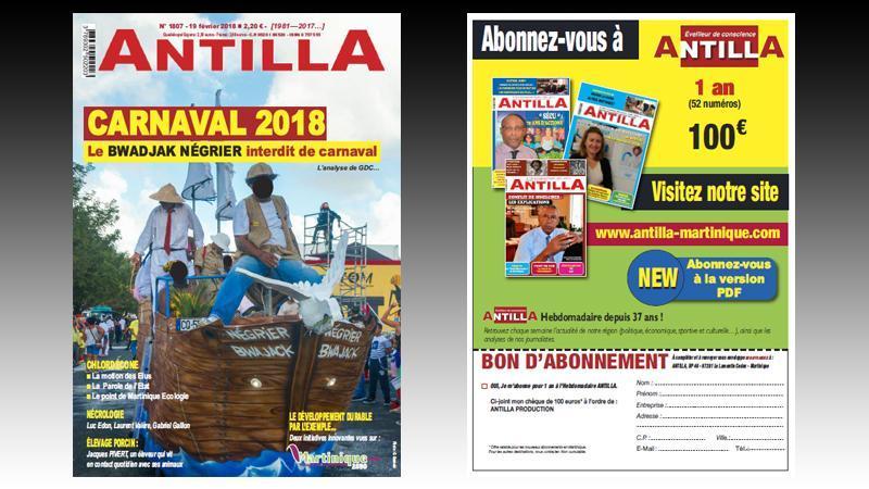 """ANTILLA n°107 : Luc Edon nous a quittés ; le """"bwadjak négrier"""" ; Jacques Pivert, éleveur de porcs ; Contamination au chlordécone : la conférence de presse de Martinique-Ecologie ; Déboulonnages de statues..."""