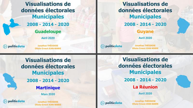 Visualisations de données électorales Municipales 2008 - 2014 - 2020  Guadeloupe - Guyane - Martinique - Réunion